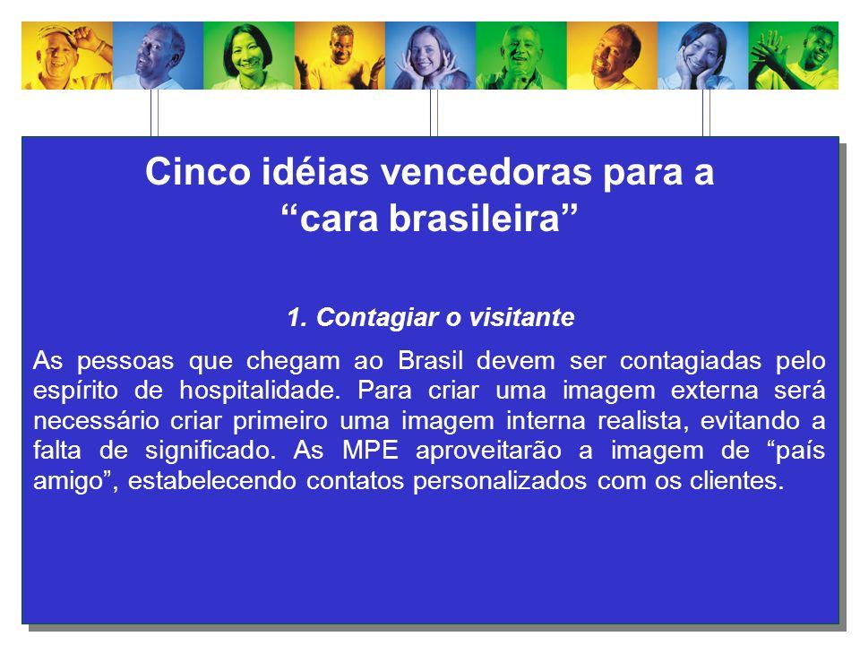 Cinco idéias vencedoras para a cara brasileira 1. Contagiar o visitante As pessoas que chegam ao Brasil devem ser contagiadas pelo espírito de hospita