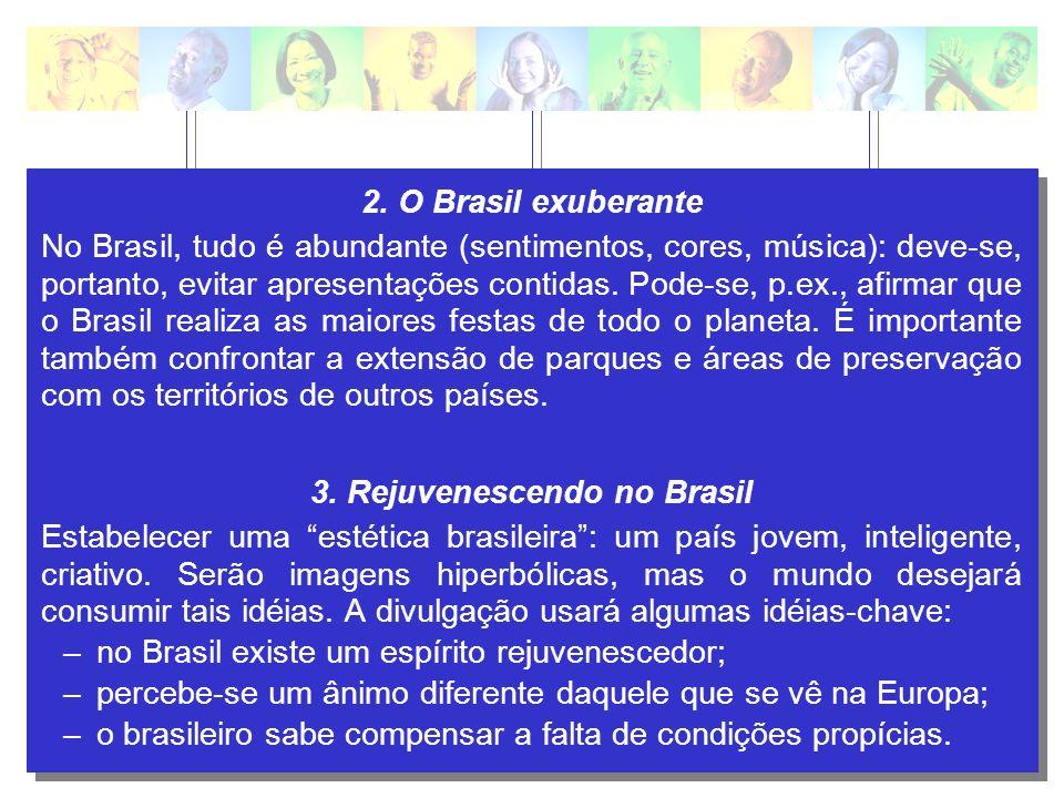 2. O Brasil exuberante No Brasil, tudo é abundante (sentimentos, cores, música): deve-se, portanto, evitar apresentações contidas. Pode-se, p.ex., afi