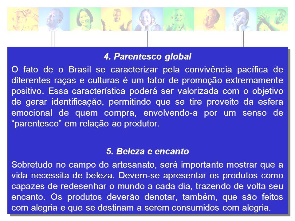 4. Parentesco global O fato de o Brasil se caracterizar pela convivência pacífica de diferentes raças e culturas é um fator de promoção extremamente p