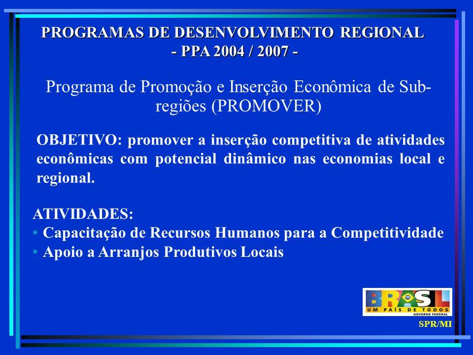 PROGRAMAS DE DESENVOLVIMENTO REGIONAL - PPA 2004 / 2007 - - PPA 2004 / 2007 - Programa de Promoção e Inserção Econômica de Sub- regiões (PROMOVER) OBJETIVO: promover a inserção competitiva de atividades econômicas com potencial dinâmico nas economias local e regional.