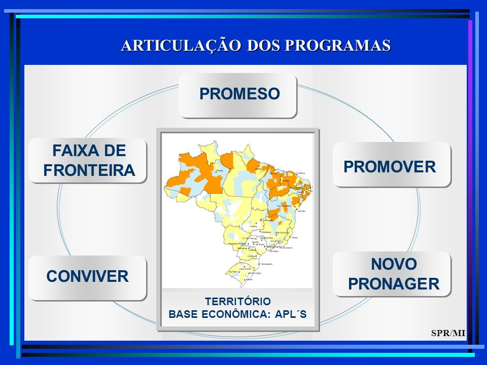 ARTICULAÇÃO DOS PROGRAMAS CONVIVER FAIXA DE FRONTEIRA NOVO PRONAGER TERRITÓRIO BASE ECONÔMICA: APL´S PROMOVER PROMESO SPR/MI