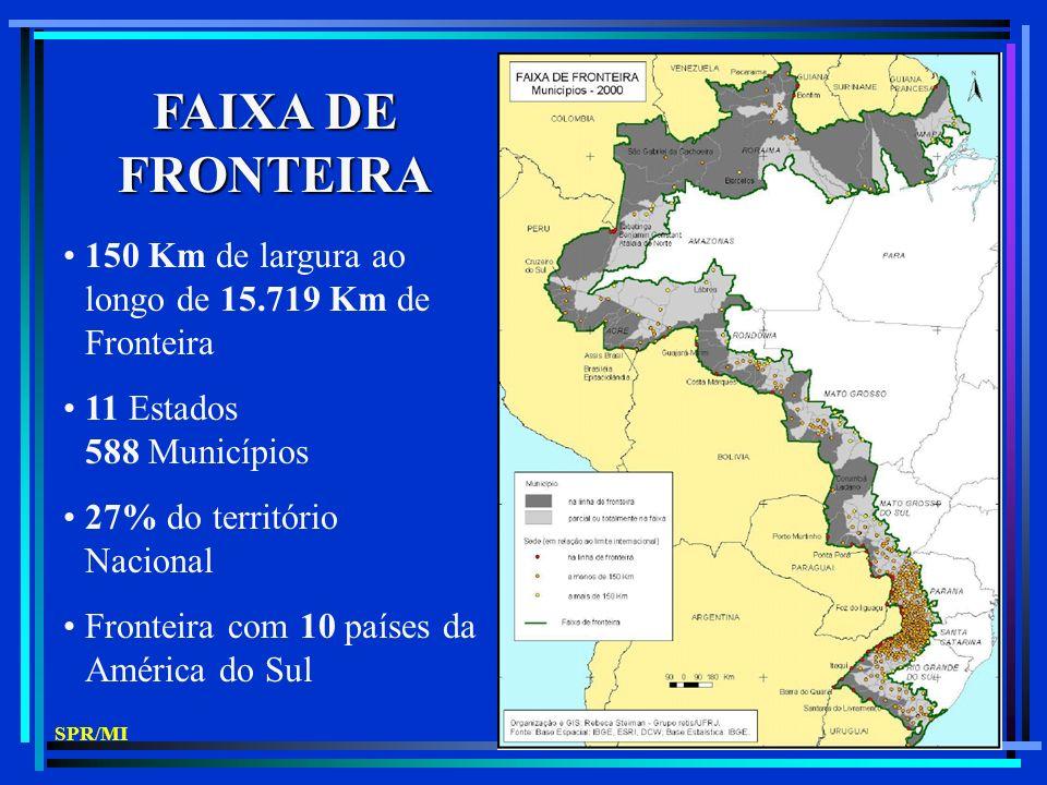 FAIXA DE FRONTEIRA 150 Km de largura ao longo de 15.719 Km de Fronteira 11 Estados 588 Municípios 27% do território Nacional Fronteira com 10 países da América do Sul SPR/MI