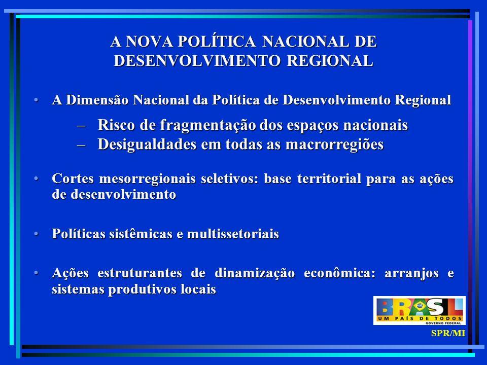 ALTA RENDA RENDA BAIXA e POUCO DINÂMICA RENDA BAIXA/MÉDIA e DINÂMICA ESPAÇO PRIORITÁRIO PARA AÇÃO SUB - REGIÕES DA PNDR - ESPAÇO PRIORITÁRIO PARA AÇÃO - SUB - REGIÕES DA PNDR - RENDA MÉDIA e POUCO DINÂMICA SPR/MI