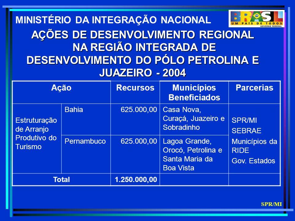 AÇÕES DE DESENVOLVIMENTO REGIONAL NA REGIÃO INTEGRADA DE NA REGIÃO INTEGRADA DE DESENVOLVIMENTO DO PÓLO PETROLINA E JUAZEIRO - 2004 AçãoRecursosMunicípios Beneficiados Parcerias Estruturação de Arranjo Produtivo do Turismo Bahia625.000,00Casa Nova, Curaçá, Juazeiro e Sobradinho SPR/MI SEBRAE Municípios da RIDE Gov.
