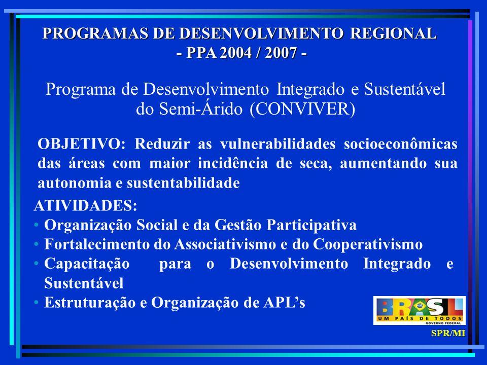 PROGRAMAS DE DESENVOLVIMENTO REGIONAL - PPA 2004 / 2007 - - PPA 2004 / 2007 - Programa de Desenvolvimento Integrado e Sustentável do Semi-Árido (CONVIVER) OBJETIVO: Reduzir as vulnerabilidades socioeconômicas das áreas com maior incidência de seca, aumentando sua autonomia e sustentabilidade ATIVIDADES: Organização Social e da Gestão Participativa Fortalecimento do Associativismo e do Cooperativismo Capacitação para o Desenvolvimento Integrado e Sustentável Estruturação e Organização de APLs SPR/MI