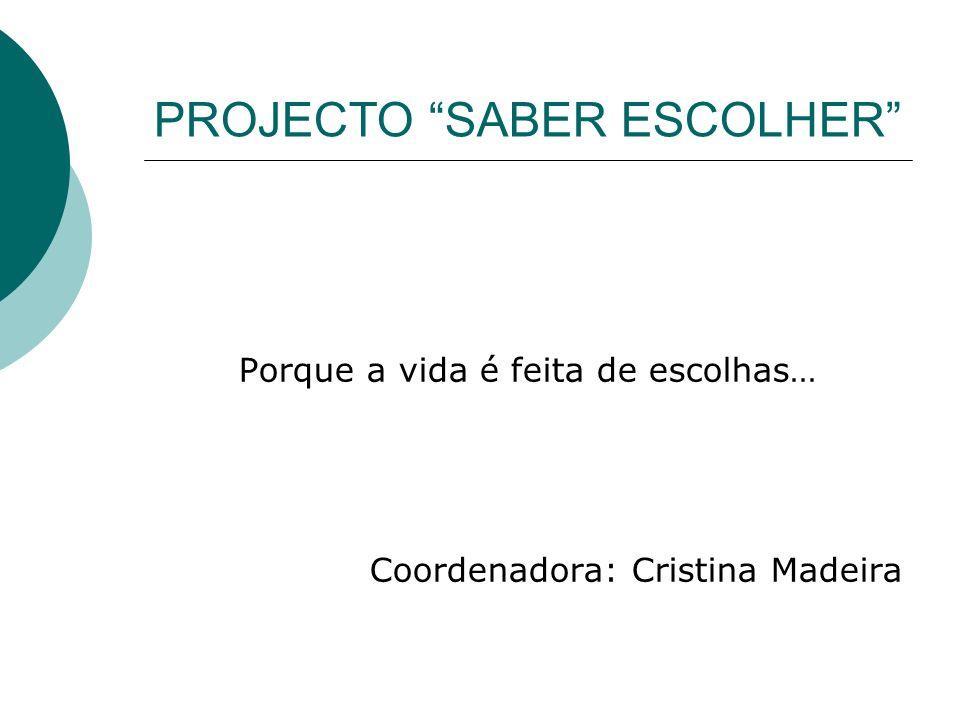 PROJECTO SABER ESCOLHER Porque a vida é feita de escolhas… Coordenadora: Cristina Madeira