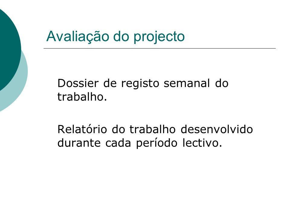 Avaliação do projecto Dossier de registo semanal do trabalho. Relatório do trabalho desenvolvido durante cada período lectivo.