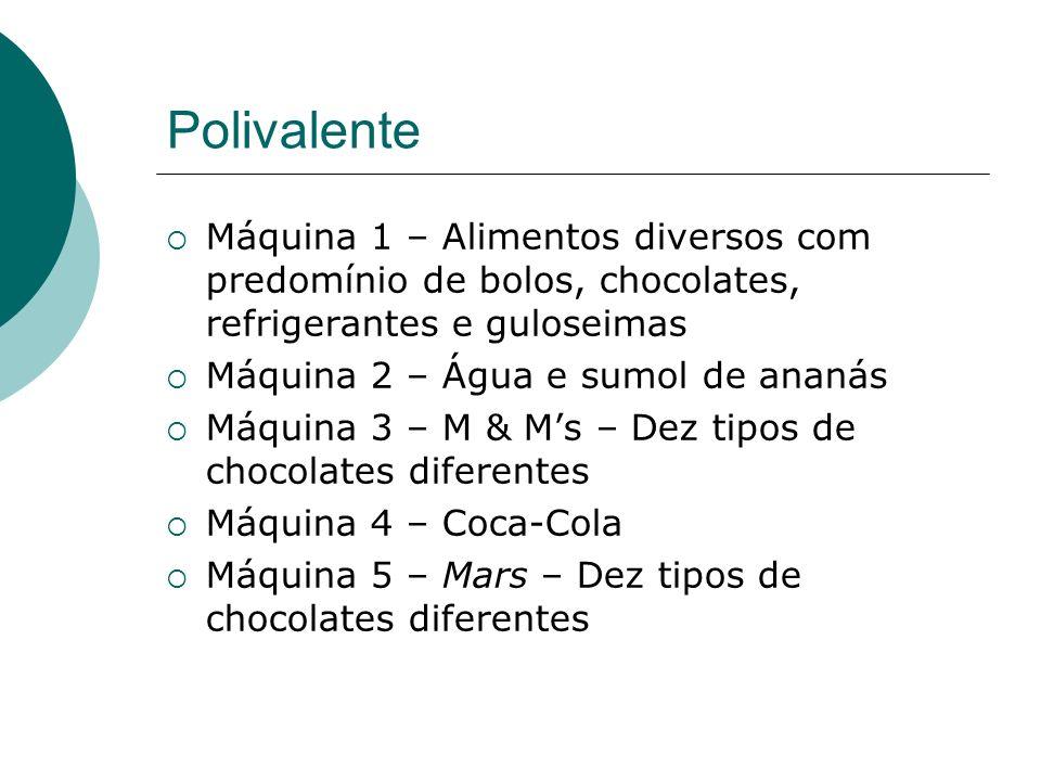 Polivalente Máquina 1 – Alimentos diversos com predomínio de bolos, chocolates, refrigerantes e guloseimas Máquina 2 – Água e sumol de ananás Máquina 3 – M & Ms – Dez tipos de chocolates diferentes Máquina 4 – Coca-Cola Máquina 5 – Mars – Dez tipos de chocolates diferentes