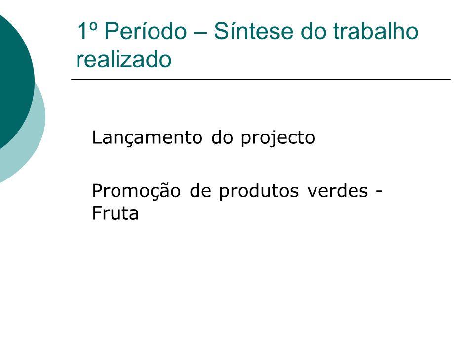 1º Período – Síntese do trabalho realizado Lançamento do projecto Promoção de produtos verdes - Fruta