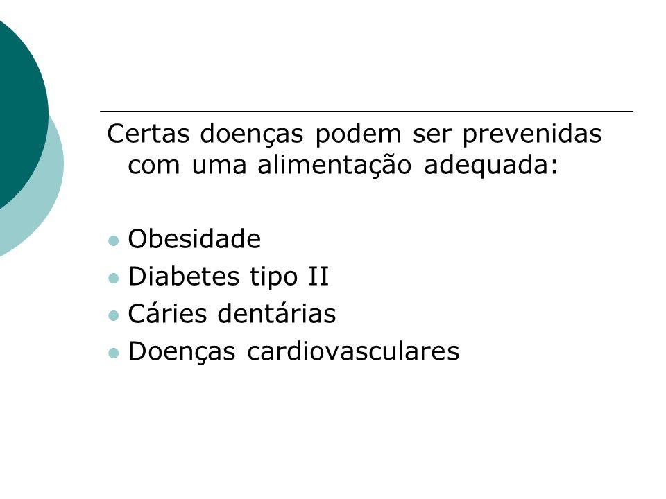 Certas doenças podem ser prevenidas com uma alimentação adequada: Obesidade Diabetes tipo II Cáries dentárias Doenças cardiovasculares