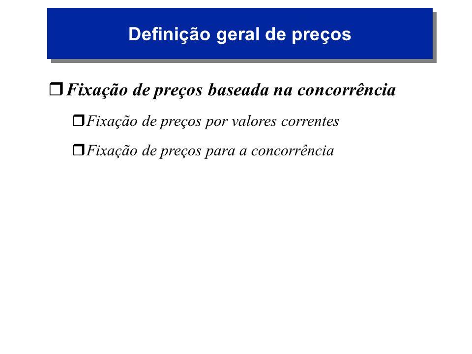 Definição geral de preços r rFixação de preços baseada na concorrência r rFixação de preços por valores correntes r rFixação de preços para a concorrê