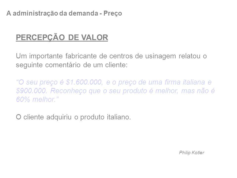 PERCEPÇÃO DE VALOR Um importante fabricante de centros de usinagem relatou o seguinte comentário de um cliente: O seu preço é $1.600.000, e o preço de