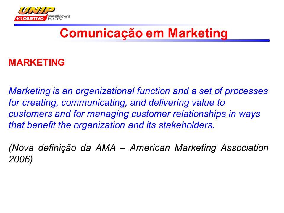 Comunicação em Marketing MARKETING O marketing é uma função organizacional e um conjunto de processos que envolvem a criação, a comunicação e a entrega de valor para os clientes, bem como a administração do relacionamento com eles, de modo que beneficie a organização e seu público interessado.