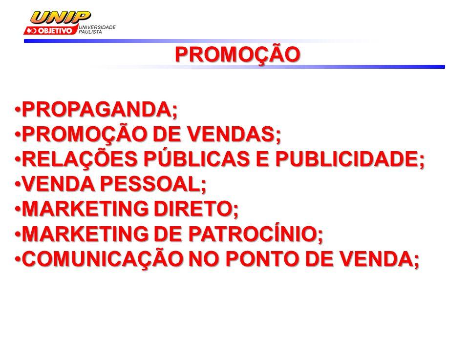 PROPAGANDA;PROPAGANDA; PROMOÇÃO DE VENDAS;PROMOÇÃO DE VENDAS; RELAÇÕES PÚBLICAS E PUBLICIDADE;RELAÇÕES PÚBLICAS E PUBLICIDADE; VENDA PESSOAL;VENDA PESSOAL; MARKETING DIRETO;MARKETING DIRETO; MARKETING DE PATROCÍNIO;MARKETING DE PATROCÍNIO; COMUNICAÇÃO NO PONTO DE VENDA;COMUNICAÇÃO NO PONTO DE VENDA; PROMOÇÃO