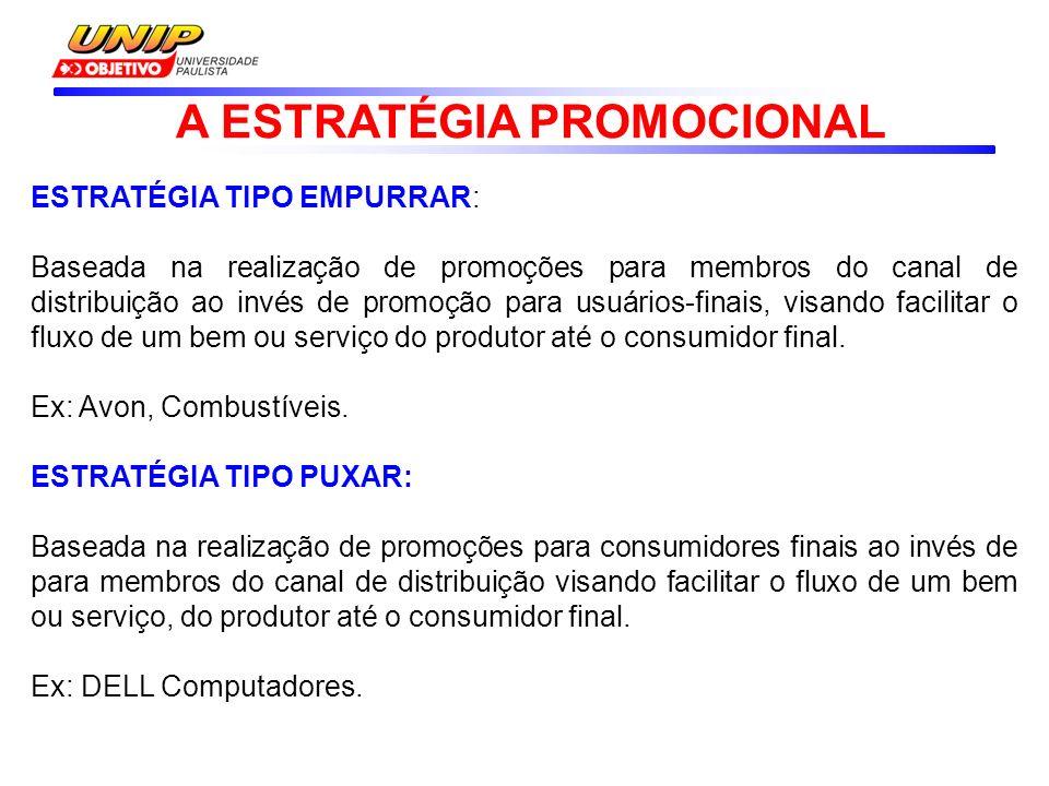 ESTRATÉGIA TIPO EMPURRAR: Baseada na realização de promoções para membros do canal de distribuição ao invés de promoção para usuários-finais, visando facilitar o fluxo de um bem ou serviço do produtor até o consumidor final.