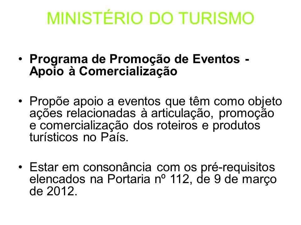 Programa de Promoção de Eventos - Apoio à Comercialização Propõe apoio a eventos que têm como objeto ações relacionadas à articulação, promoção e come
