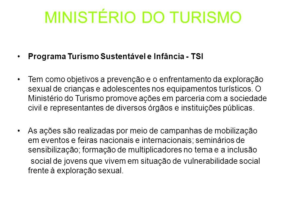 MINISTÉRIO DO TURISMO Programa Turismo Sustentável e Infância - TSI Tem como objetivos a prevenção e o enfrentamento da exploração sexual de crianças