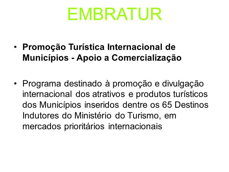EMBRATUR Promoção Turística Internacional de Municípios - Apoio a Comercialização Programa destinado à promoção e divulgação internacional dos atrativ