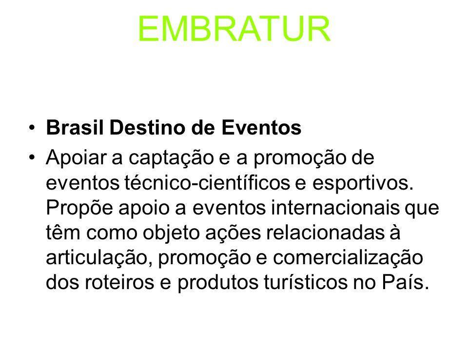 EMBRATUR Brasil Destino de Eventos Apoiar a captação e a promoção de eventos técnico-científicos e esportivos. Propõe apoio a eventos internacionais q