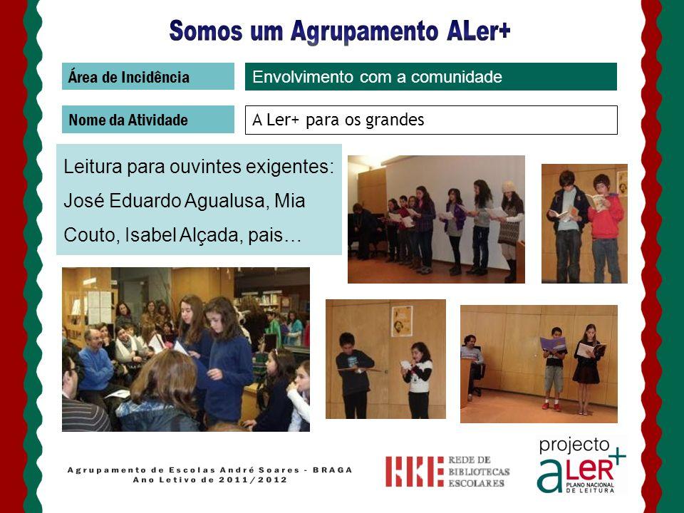 Área de Incidência Nome da Atividade A Ler+ para os grandes Leitura para ouvintes exigentes: José Eduardo Agualusa, Mia Couto, Isabel Alçada, pais… En