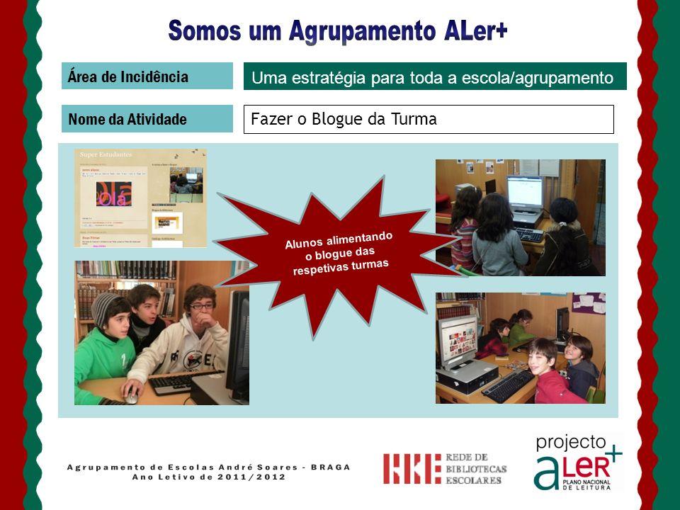 Área de Incidência Nome da Atividade Fazer o Blogue da Turma Uma estratégia para toda a escola/agrupamento Alunos alimentando o blogue das respetivas
