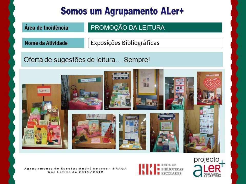 Área de Incidência Nome da Atividade Exposições Bibliográficas Oferta de sugestões de leitura… Sempre! PROMOÇÃO DA LEITURA