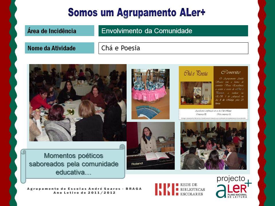 Área de Incidência Nome da Atividade Chá e Poesia Envolvimento da Comunidade Momentos poéticos saboreados pela comunidade educativa…
