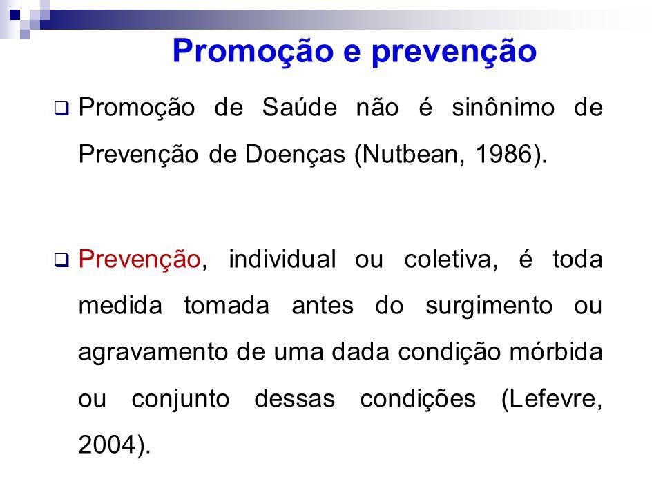 Promoção e prevenção Promoção de Saúde não é sinônimo de Prevenção de Doenças (Nutbean, 1986). Prevenção, individual ou coletiva, é toda medida tomada
