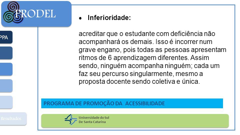 PPA Resultados PRODEL Universidade do Sul De Santa Catarina PROGRAMA DE PROMOÇÃO DA ACESSIBILIDADE Inferioridade: acreditar que o estudante com defici