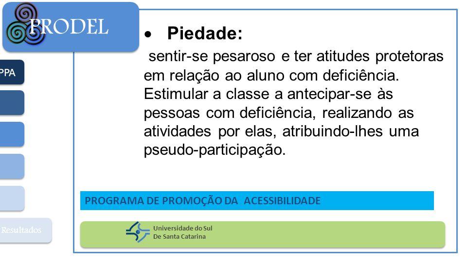 PPA Resultados PRODEL Universidade do Sul De Santa Catarina PROGRAMA DE PROMOÇÃO DA ACESSIBILIDADE Piedade: sentir-se pesaroso e ter atitudes protetor