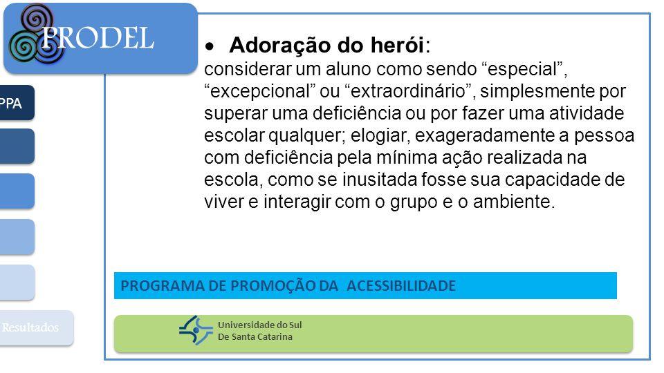PPA Resultados PRODEL Universidade do Sul De Santa Catarina PROGRAMA DE PROMOÇÃO DA ACESSIBILIDADE Adoração do herói: considerar um aluno como sendo e