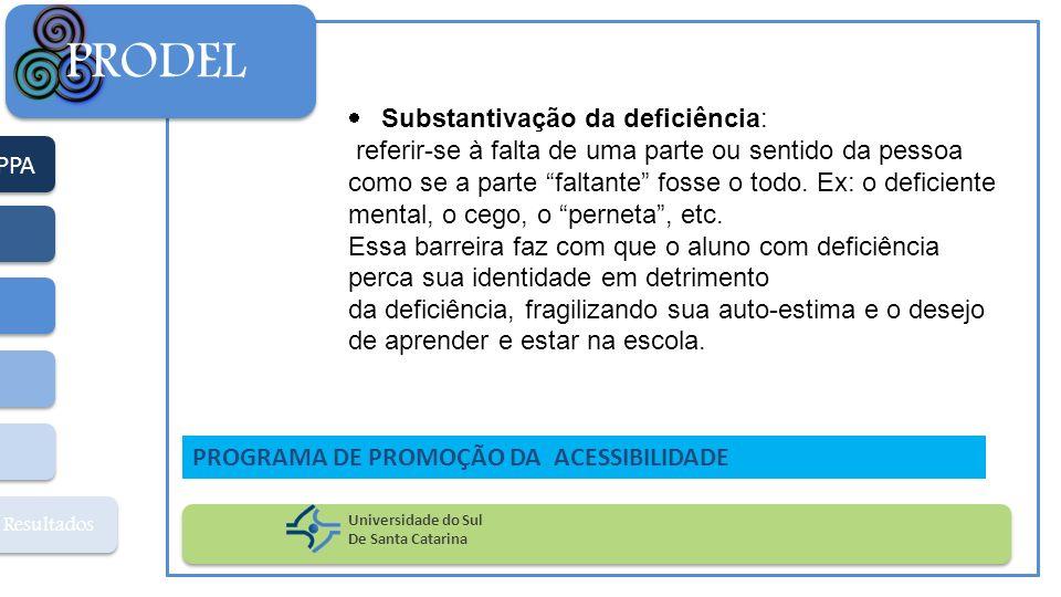PPA Resultados PRODEL Universidade do Sul De Santa Catarina PROGRAMA DE PROMOÇÃO DA ACESSIBILIDADE Substantivação da deficiência: referir-se à falta d