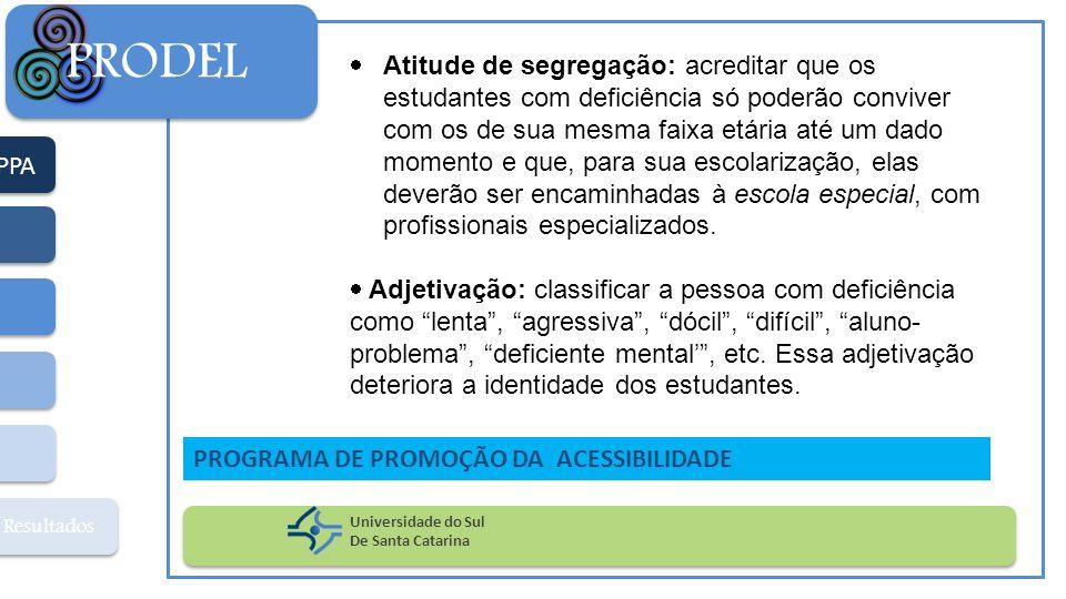 PPA Resultados PRODEL Universidade do Sul De Santa Catarina PROGRAMA DE PROMOÇÃO DA ACESSIBILIDADE Atitude de segregação: acreditar que os estudantes