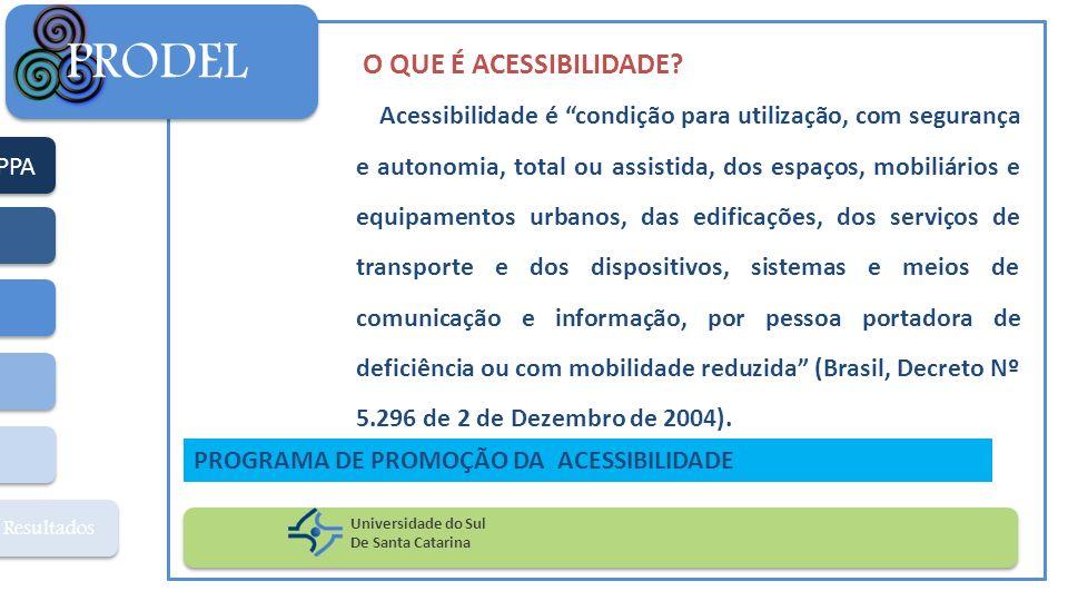 PPA Resultados PRODEL Universidade do Sul De Santa Catarina PROGRAMA DE PROMOÇÃO DA ACESSIBILIDADE O QUE É ACESSIBILIDADE? Acessibilidade é condição p