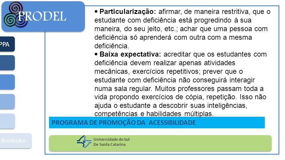 PPA Resultados PRODEL Universidade do Sul De Santa Catarina PROGRAMA DE PROMOÇÃO DA ACESSIBILIDADE Particularização: afirmar, de maneira restritiva, q