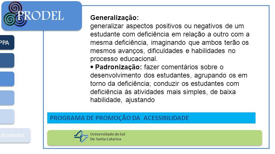 PPA Resultados PRODEL Universidade do Sul De Santa Catarina PROGRAMA DE PROMOÇÃO DA ACESSIBILIDADE Generalização: generalizar aspectos positivos ou ne