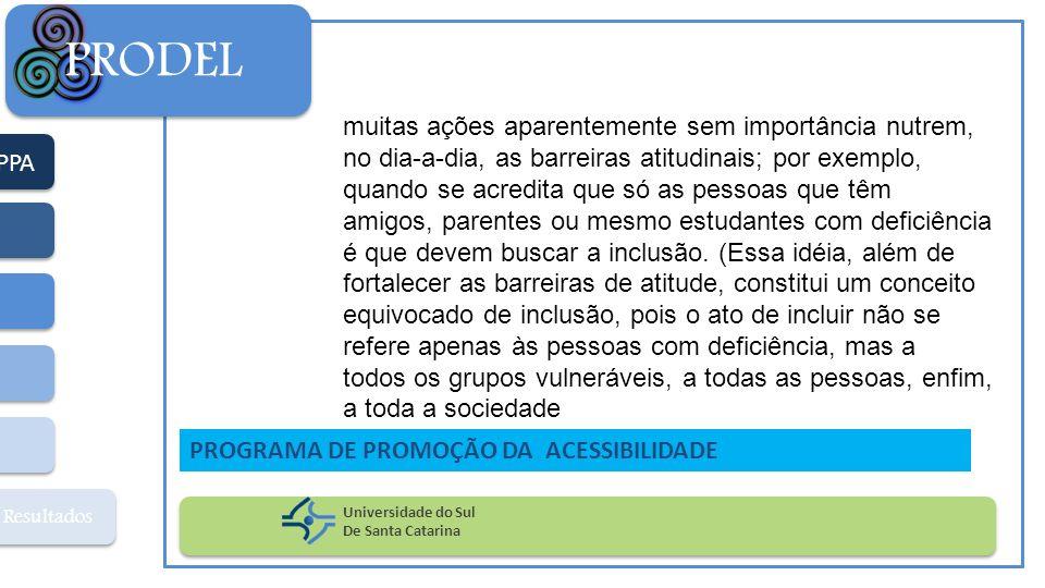 PPA Resultados PRODEL Universidade do Sul De Santa Catarina PROGRAMA DE PROMOÇÃO DA ACESSIBILIDADE muitas ações aparentemente sem importância nutrem,