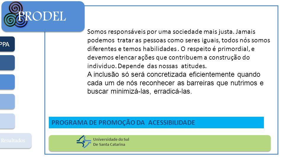 PPA Resultados PRODEL Universidade do Sul De Santa Catarina PROGRAMA DE PROMOÇÃO DA ACESSIBILIDADE Somos responsáveis por uma sociedade mais justa. Ja