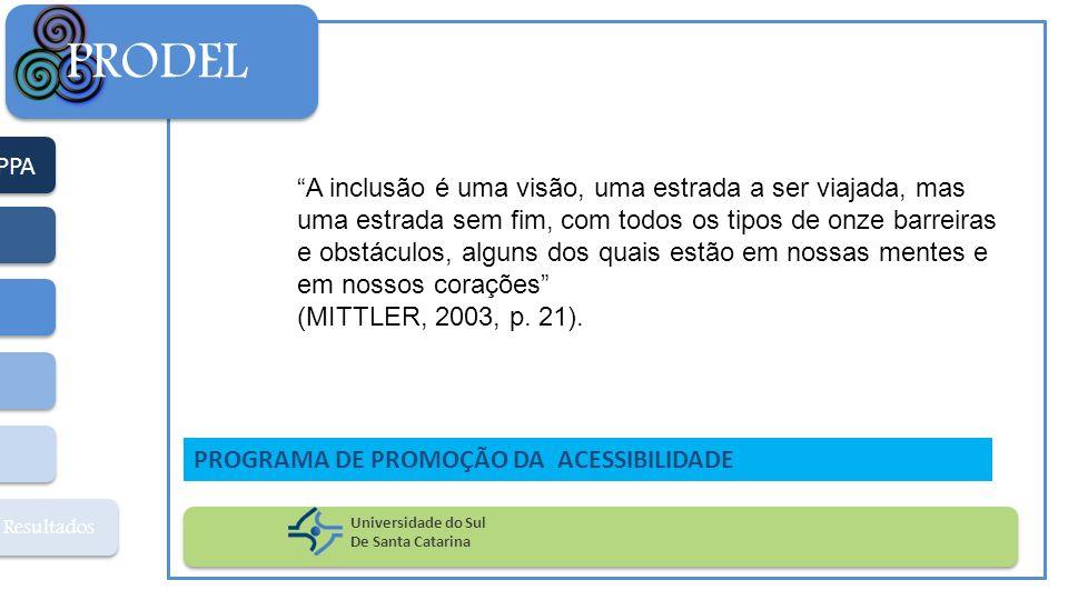 PPA Resultados PRODEL Universidade do Sul De Santa Catarina PROGRAMA DE PROMOÇÃO DA ACESSIBILIDADE A inclusão é uma visão, uma estrada a ser viajada,