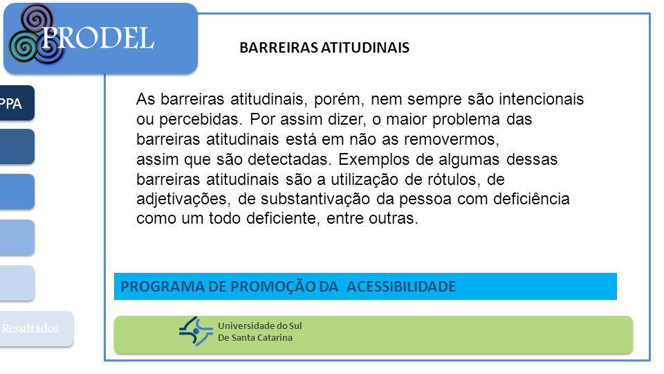 PPA Resultados PRODEL Universidade do Sul De Santa Catarina PROGRAMA DE PROMOÇÃO DA ACESSIBILIDADE As barreiras atitudinais, porém, nem sempre são int