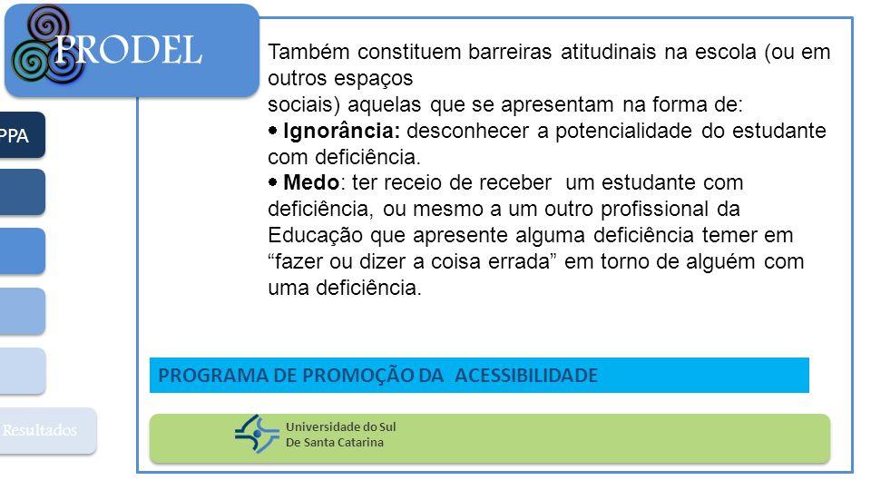 PPA Resultados PRODEL Universidade do Sul De Santa Catarina PROGRAMA DE PROMOÇÃO DA ACESSIBILIDADE Também constituem barreiras atitudinais na escola (