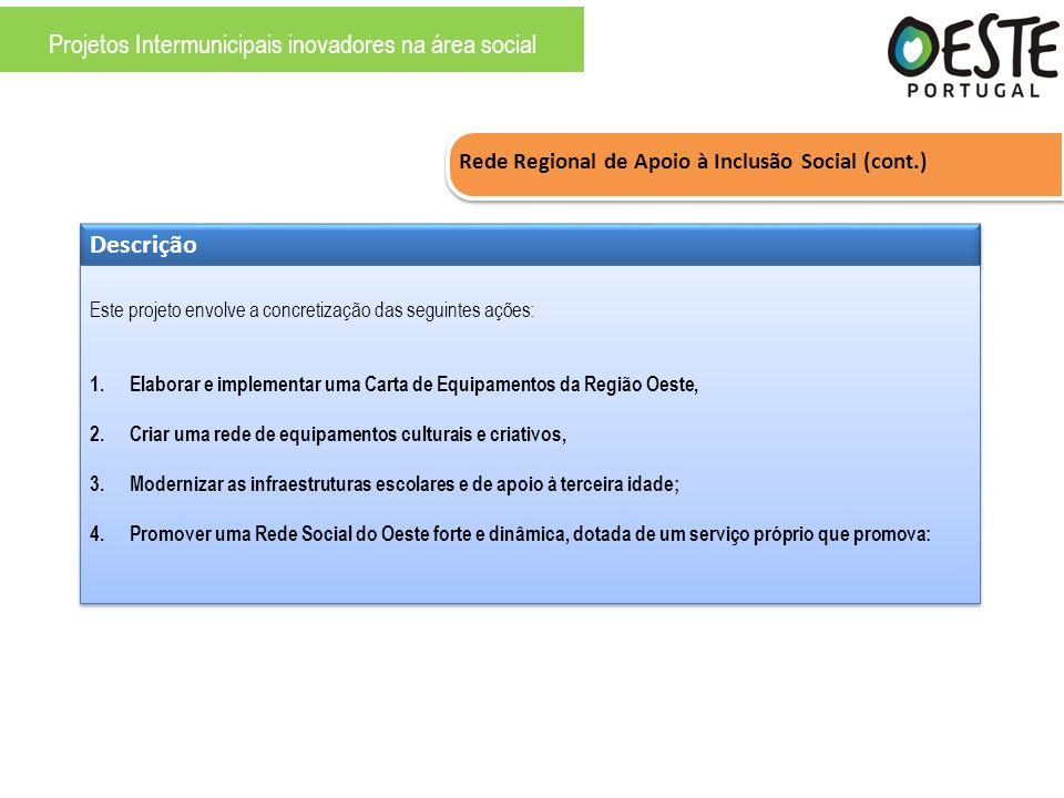 Rede Regional de Apoio à Inclusão Social (cont.) Descrição Este projeto envolve a concretização das seguintes ações: 1.Elaborar e implementar uma Cart