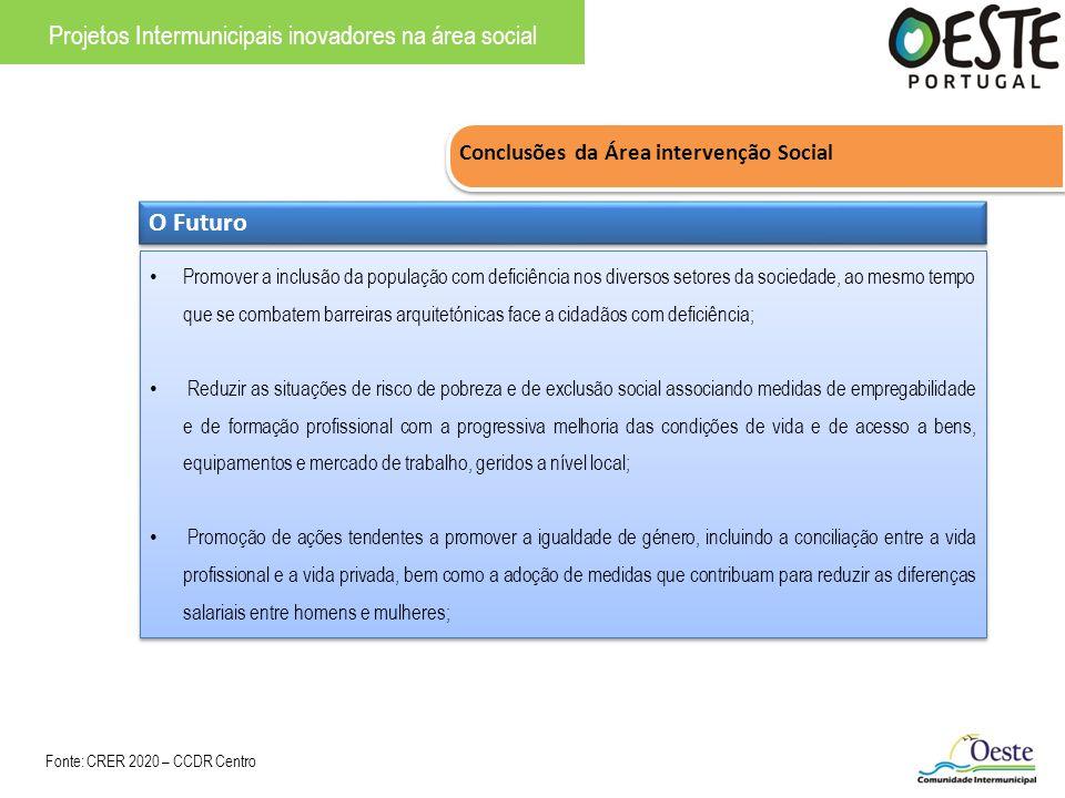 Conclusões da Área intervenção Social Projetos Intermunicipais inovadores na área social O Futuro Promover a inclusão da população com deficiência nos