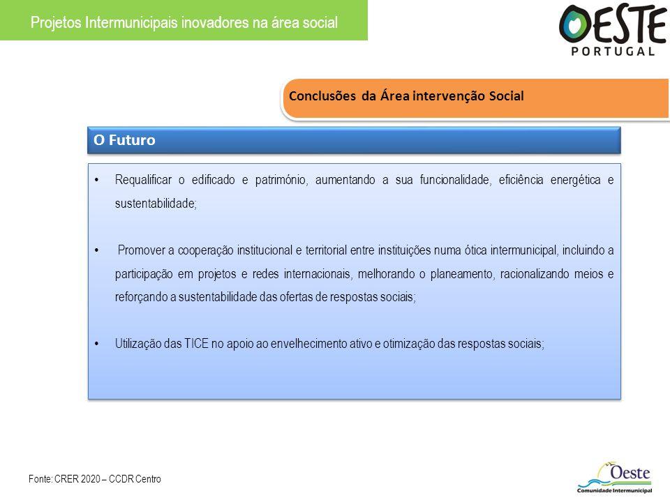 Conclusões da Área intervenção Social Projetos Intermunicipais inovadores na área social O Futuro Requalificar o edificado e património, aumentando a