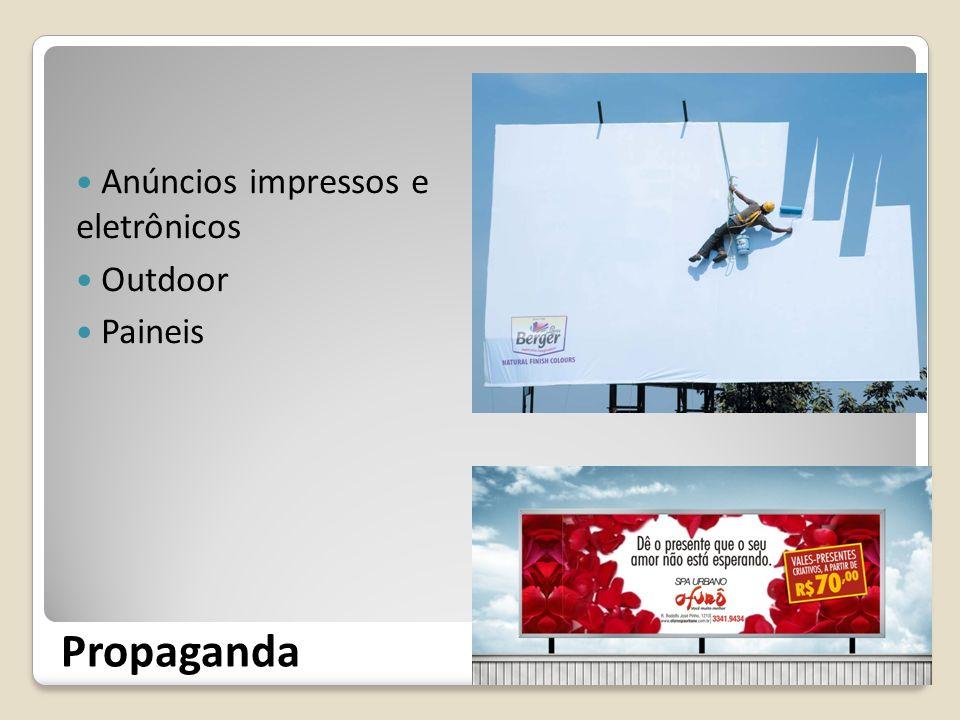 Propaganda Anúncios impressos e eletrônicos Outdoor Paineis