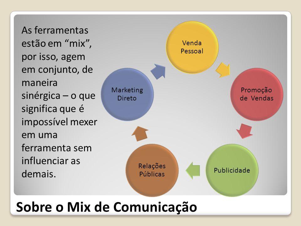 Sobre o Mix de Comunicação As ferramentas estão em mix, por isso, agem em conjunto, de maneira sinérgica – o que significa que é impossível mexer em u