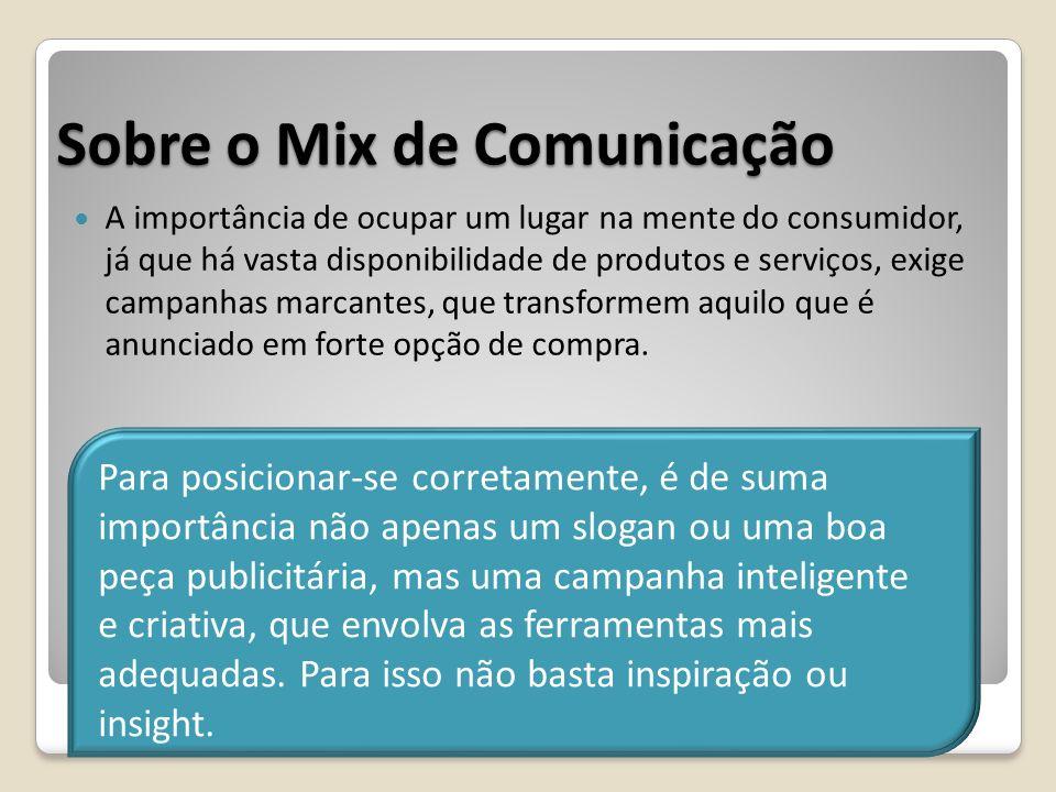Sobre o Mix de Comunicação A importância de ocupar um lugar na mente do consumidor, já que há vasta disponibilidade de produtos e serviços, exige camp