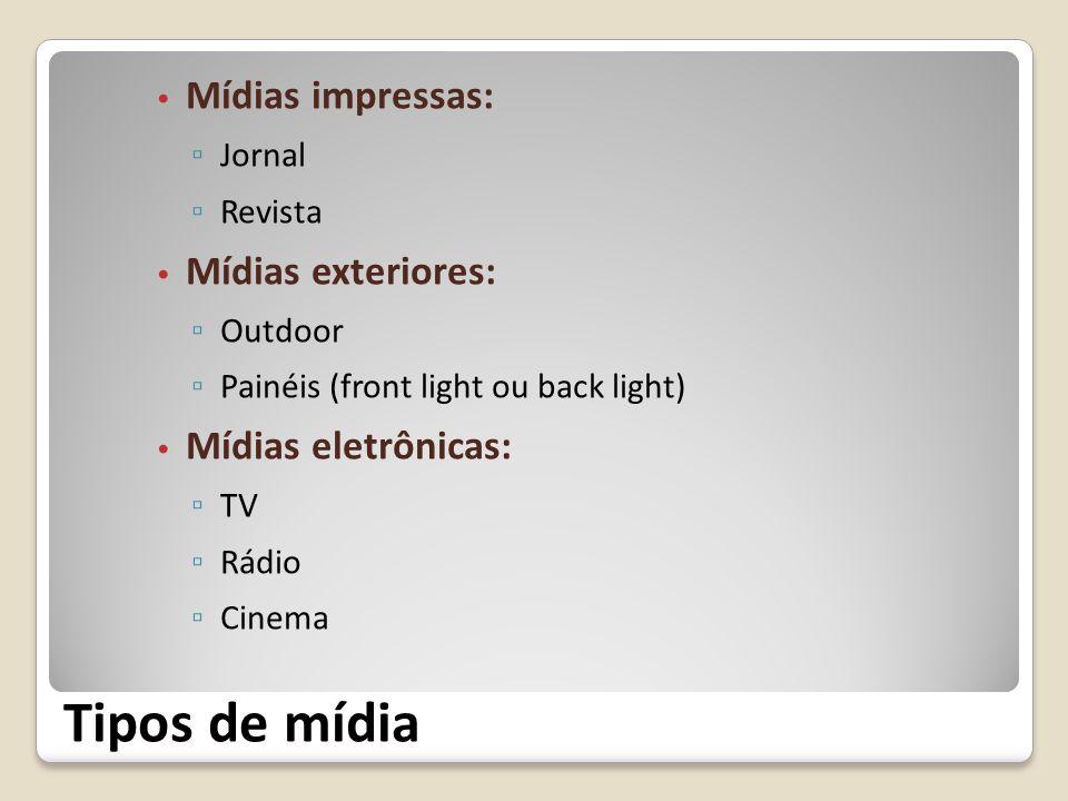 Tipos de mídia Mídias impressas: Jornal Revista Mídias exteriores: Outdoor Painéis (front light ou back light) Mídias eletrônicas: TV Rádio Cinema