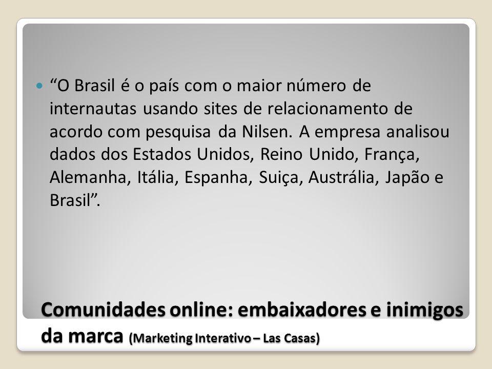 Comunidades online: embaixadores e inimigos da marca (Marketing Interativo – Las Casas) O Brasil é o país com o maior número de internautas usando sit