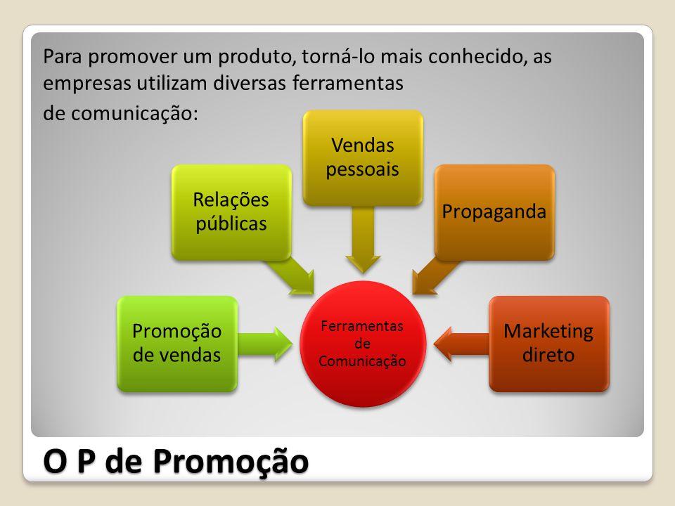 O P de Promoção Para promover um produto, torná-lo mais conhecido, as empresas utilizam diversas ferramentas de comunicação: Ferramentas de Comunicaçã